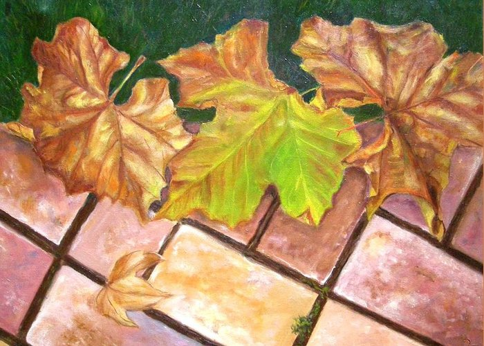 Leaves Greeting Card featuring the painting Autumn Leaves by Olga Kaczmar