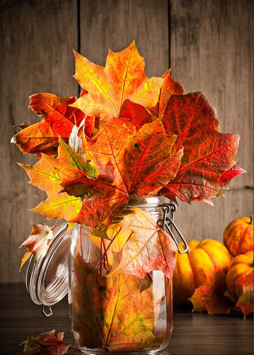 Autumn Greeting Card featuring the photograph Autumn Leaves Still Life by Amanda Elwell