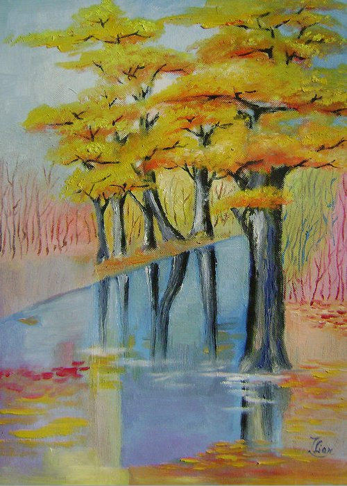 Abstract Greeting Card featuring the painting Autumn by Lian Zhen