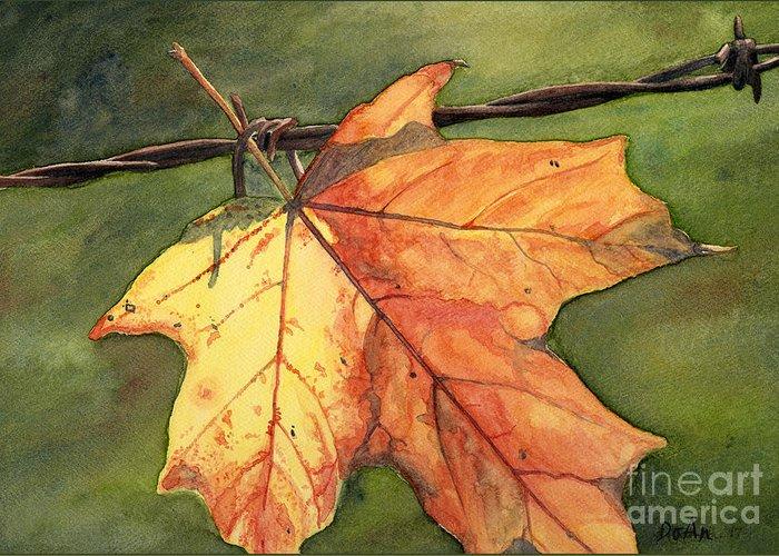 Autumn Greeting Card featuring the painting Autumn Maple Leaf by Antony Galbraith