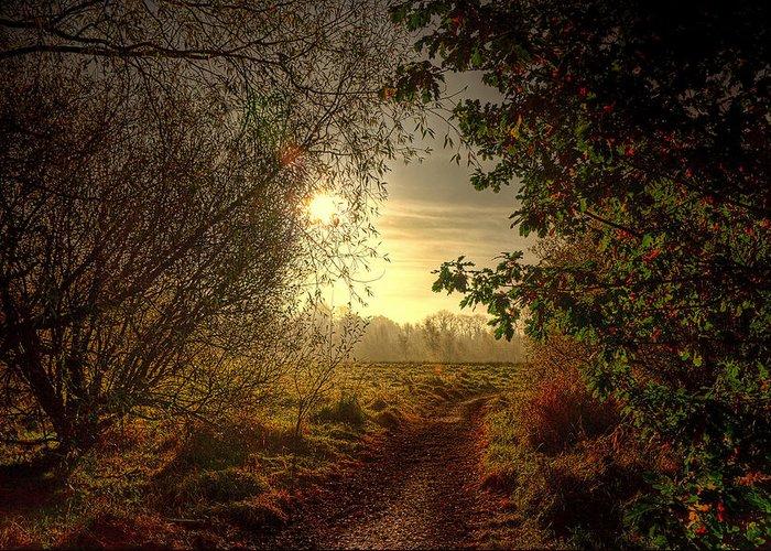 Autumn Greeting Card featuring the photograph Autumn Mist by Kim Shatwell-Irishphotographer