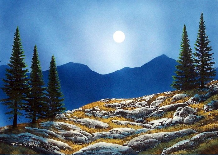 Landscape Greeting Card featuring the painting Autumn Moon by Frank Wilson