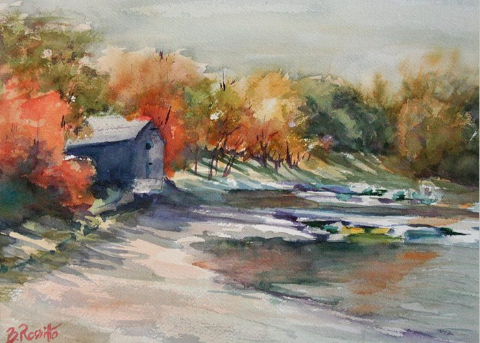 Autumn Morning At The Cove Greeting Card featuring the painting Autumn Morning At The Cove by B Rossitto