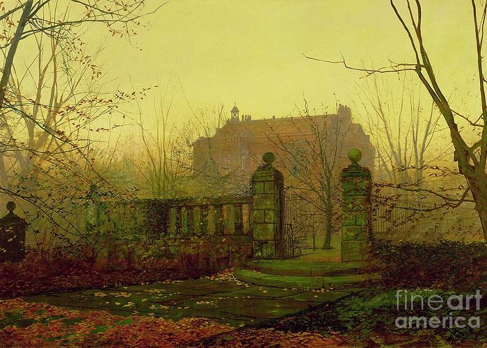 Autumn Greeting Card featuring the painting Autumn Morning by John Atkinson Grimshaw