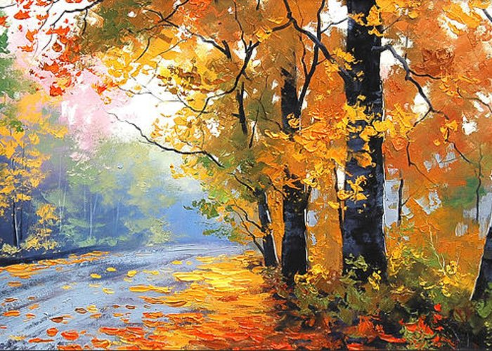 Fall Greeting Card featuring the painting Autumn Mt Wilson by Graham Gercken