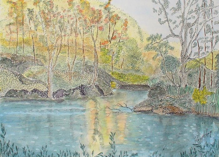 Watercolour Greeting Card featuring the painting Autumn On The Ausable River by Peggy King
