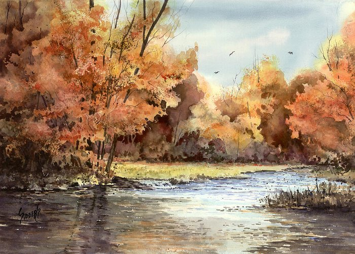 Autum Greeting Card featuring the painting Autumn On The Buffalo by Sam Sidders