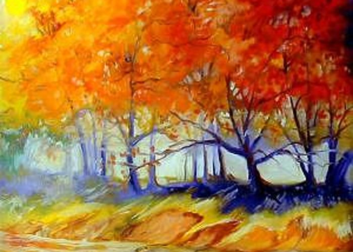 Tree Greeting Card featuring the painting Autumn On The Lake by Marcia Baldwin