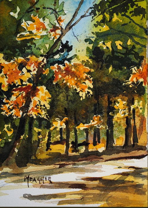 Natchez Trace Greeting Card featuring the painting Autumn On The Natchez Trace by Spencer Meagher