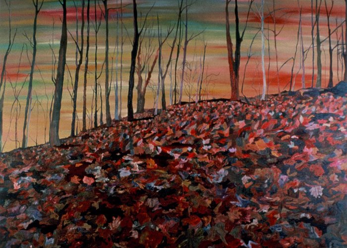 Landscape Greeting Card featuring the painting Autumn by Oudi Arroni