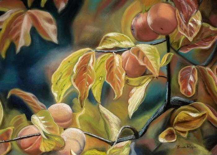 Autumn Greeting Card featuring the painting Autumn Peaches by Brenda Williams