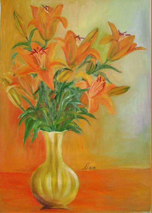 Floral Greeting Card featuring the painting Autumn Profusion by Lian Zhen