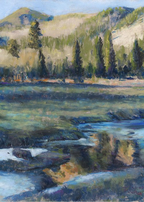 Partly Frozen River In The Rockies Greeting Card featuring the painting Autumn Reflections by Billie Colson