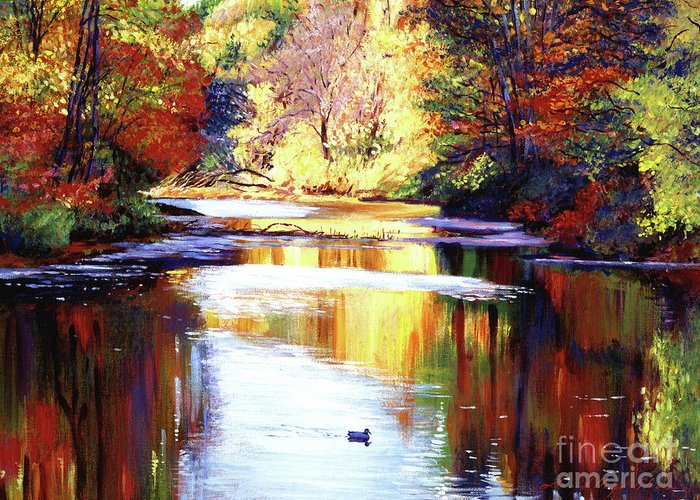 Water Greeting Card featuring the painting Autumn Reflections by David Lloyd Glover