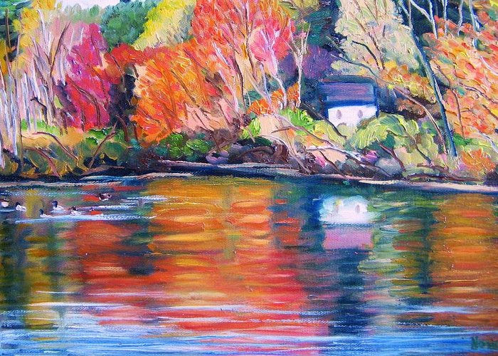 Autumn Greeting Card featuring the painting Autumn Reflections by Richard Nowak