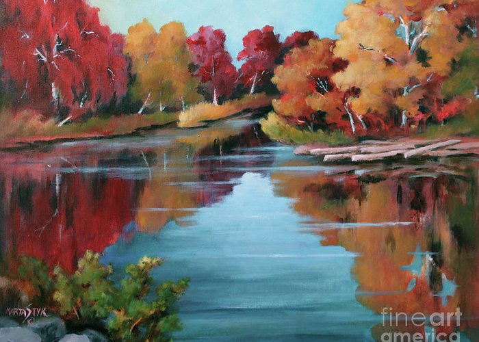 Landscape Greeting Card featuring the painting Autumn Reflexions 1 by Marta Styk