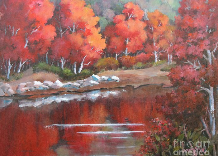 Landscape Greeting Card featuring the painting Autumn Reflexions 2 by Marta Styk