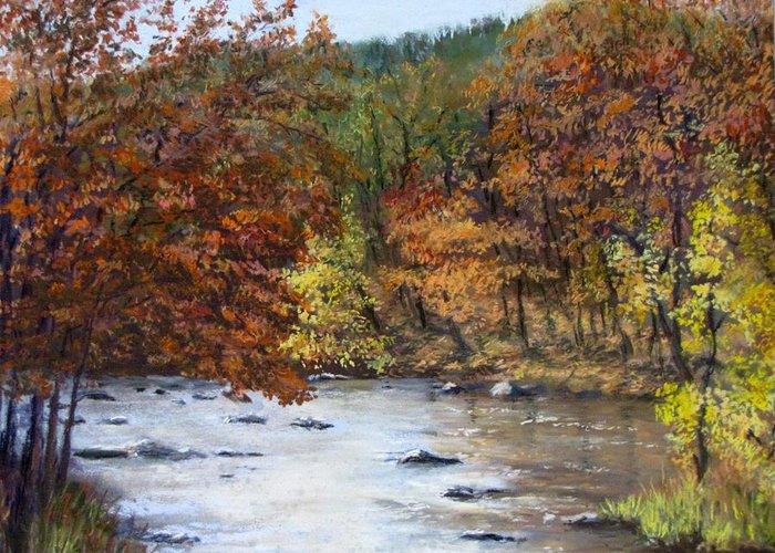 Autumn Greeting Card featuring the painting Autumn River by Jack Skinner