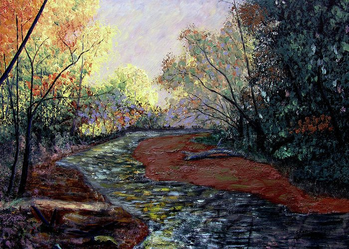 Fall Greeting Card featuring the painting Autumn Road by Stan Hamilton
