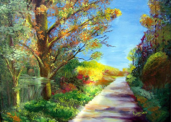 Landscape Greeting Card featuring the painting Autumn Roads by Julie Lamons
