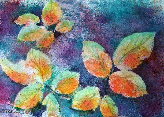 Rose Greeting Card featuring the painting Autumn Rose Leaves by Sherri Patterson
