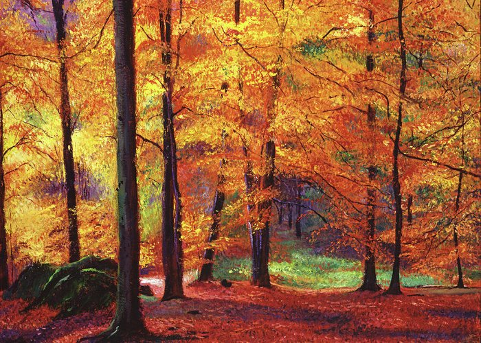 Featured Art Greeting Card featuring the painting Autumn Serenity by David Lloyd Glover