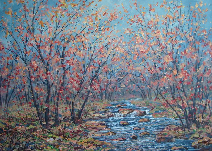 Landscape Greeting Card featuring the painting Autumn Serenity by Leonard Holland