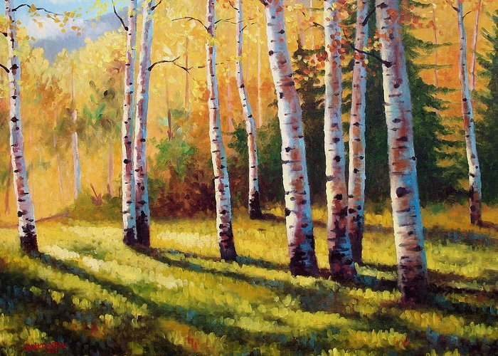 Landscape Greeting Card featuring the painting Autumn Shade by David G Paul