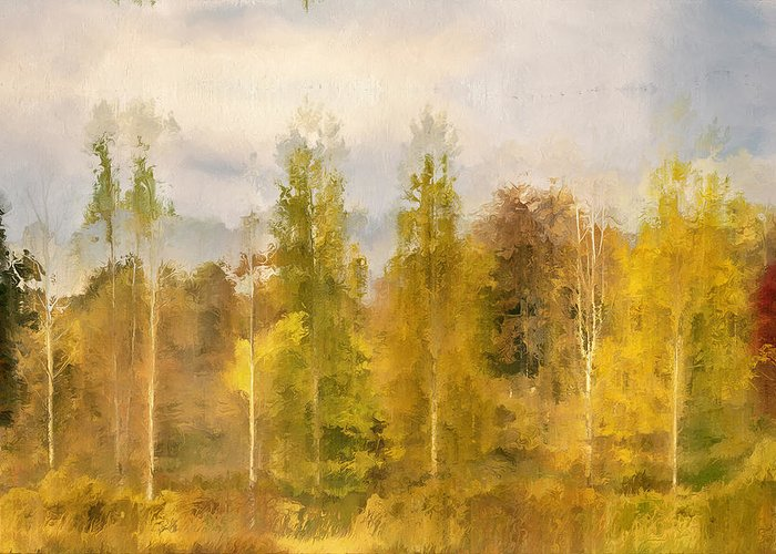 Contemporary Greeting Card featuring the digital art Autumn Shear Poplars by Ronald Bolokofsky