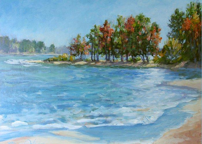 North Carolina Lake Greeting Card featuring the painting Autumn Shores - Jordan Lake by L Diane Johnson