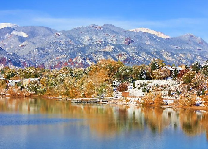 Landscape Greeting Card featuring the photograph Autumn Snow At The Lake by Diane Alexander