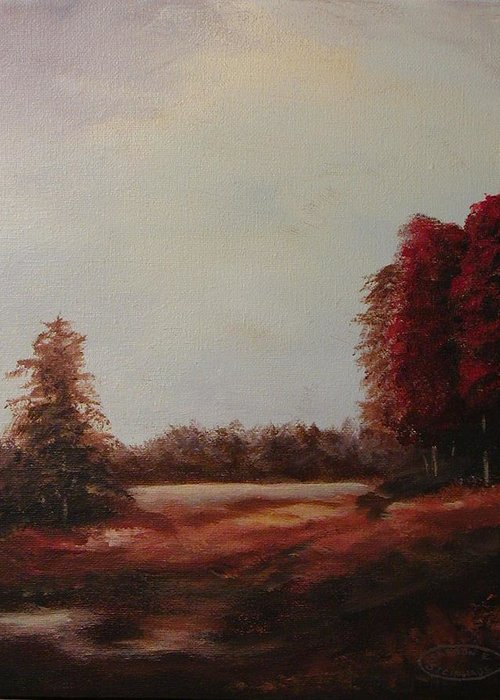 Original Acrylic Landscape Greeting Card featuring the painting Autumn Splender by Sharon Steinhaus
