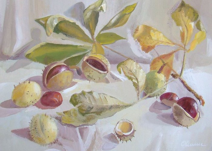 Still Life Greeting Card featuring the painting Autumn Still Life by Elena Oleniuc