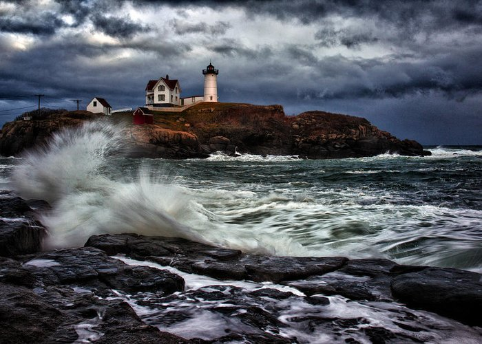 Maine Greeting Card featuring the photograph Autumn Storm At Cape Neddick by Rick Berk