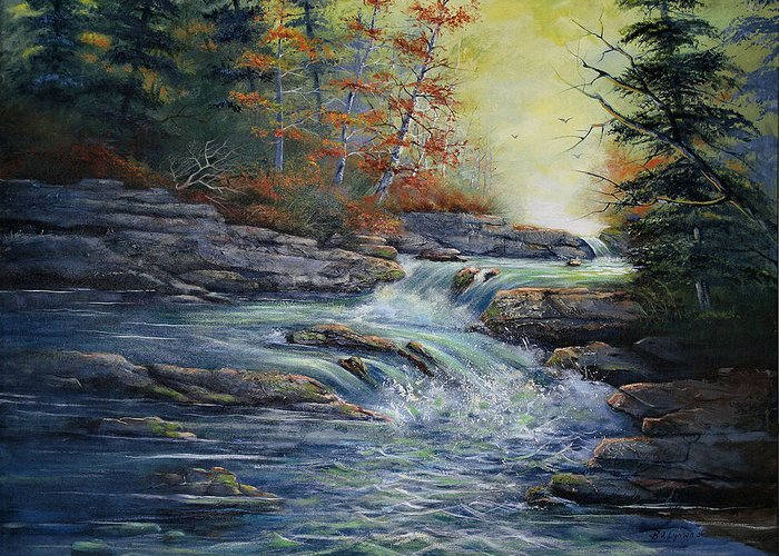 Landscape Greeting Card featuring the painting Autumn Stream by Brooke Lyman