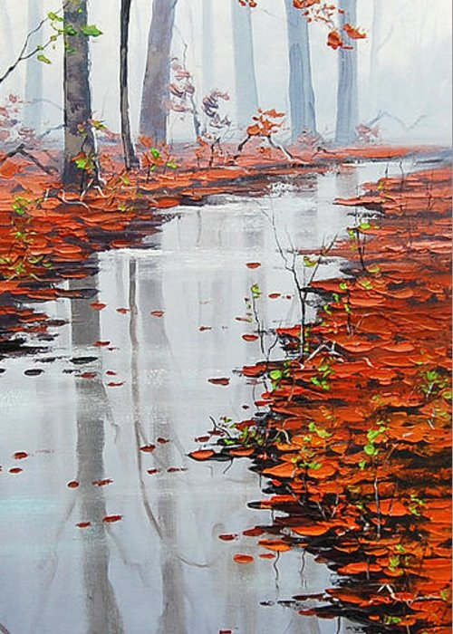 Fall Greeting Card featuring the painting Autumn Stream by Graham Gercken