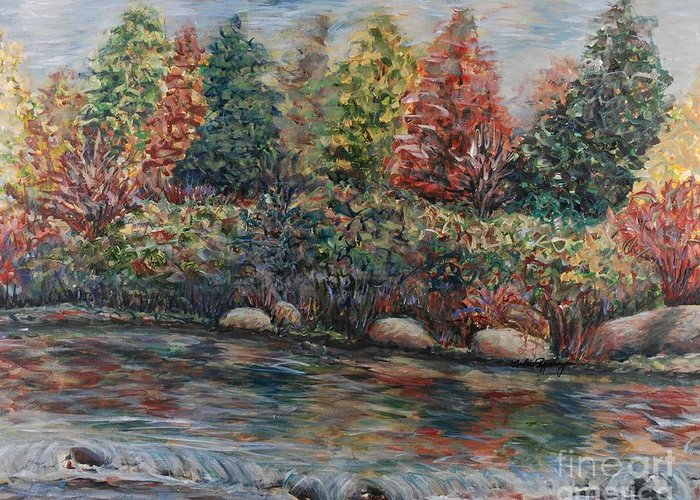 Autumn Greeting Card featuring the painting Autumn Stream by Nadine Rippelmeyer