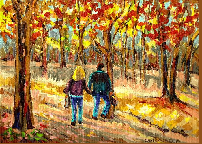 Autumn Stroll On Mount Royal Greeting Card featuring the painting Autumn Stroll On Mount Royal by Carole Spandau