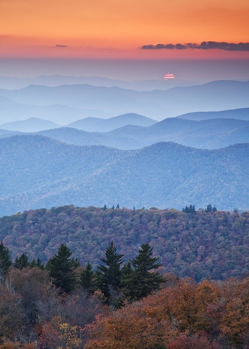 Autumn Photographs Greeting Card featuring the photograph Autumn Sunset On The Parkway by Rob Travis