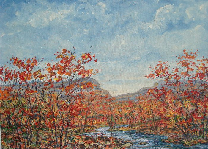 Paintings Greeting Card featuring the painting Autumn View. by Leonard Holland