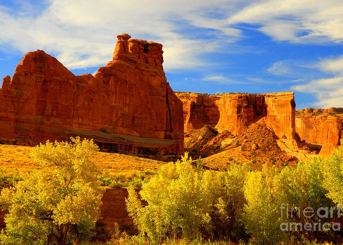 Arches Greeting Card featuring the photograph Autumn Vista by Dennis Hammer