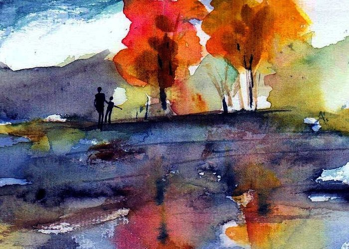 Fall Greeting Card featuring the painting Autumn Walk by Anne Duke