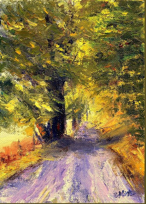 Autumn Greeting Card featuring the painting Autumn Walk by Gail Kirtz