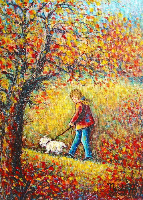Landscape Greeting Card featuring the painting Autumn Walk by Natalie Holland
