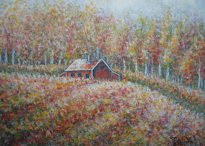 Landscape Greeting Card featuring the painting Autumn Whisper. by Natalie Holland