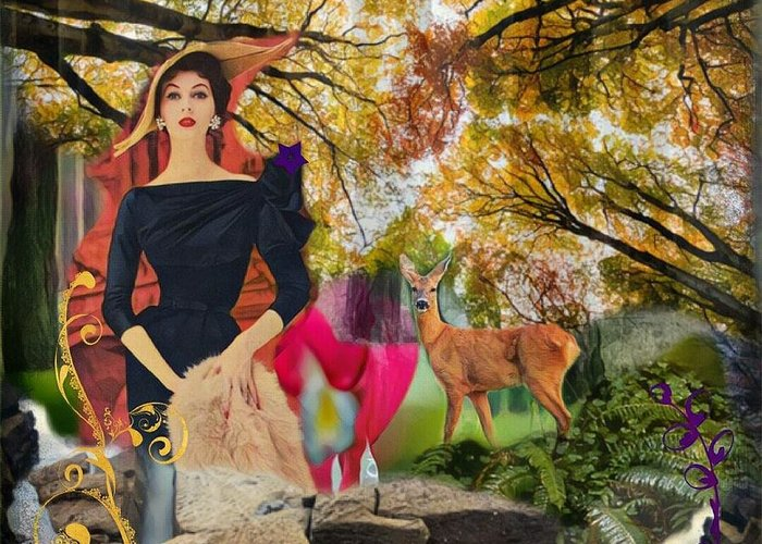 Automne Greeting Card featuring the digital art Autumn Woods by Nidigicrea Collages