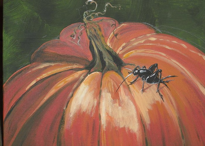 Pumpkin Greeting Card featuring the painting Autumnal Friend by Jana Caissie