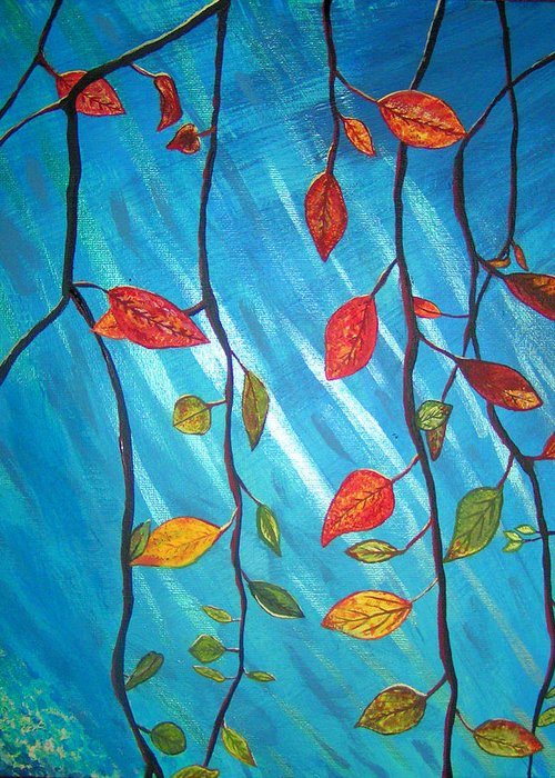 Trees Greeting Card featuring the painting Autumnleaves by Necia Nash