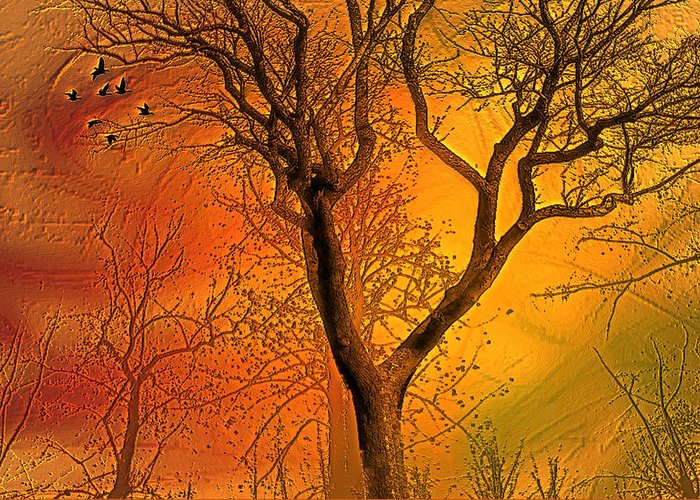 Landscape Greeting Card featuring the digital art Autumn's Boundry by Jean Gugliuzza