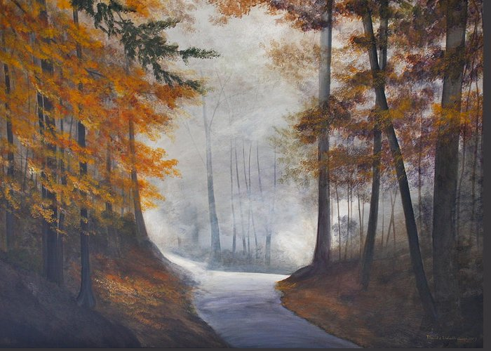 Landscape Greeting Card featuring the painting Autum's Mist by Lizbeth Gage